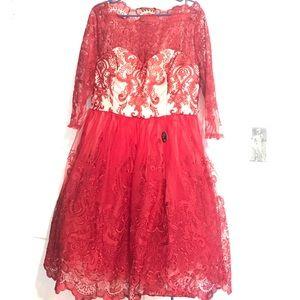 NWT Red Lace midi dress